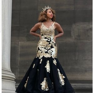 Formal Gown - Black and Gold